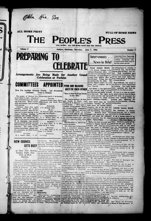 Primary view of object titled 'The People's Press (Perkins, Okla.), Vol. 2, No. 17, Ed. 1 Thursday, June 7, 1906'.