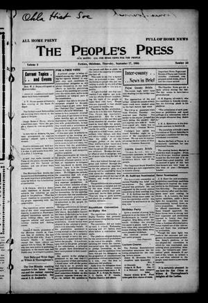 Primary view of object titled 'The People's Press (Perkins, Okla.), Vol. 2, No. 33, Ed. 1 Thursday, September 27, 1906'.