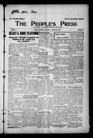Primary view of object titled 'The People's Press (Perkins, Okla.), Vol. 2, No. 28, Ed. 1 Thursday, August 23, 1906'.