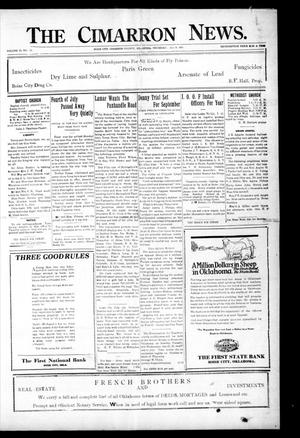 Primary view of object titled 'The Cimarron News. (Boise City, Okla.), Vol. 23, No. 50, Ed. 1 Thursday, July 14, 1921'.