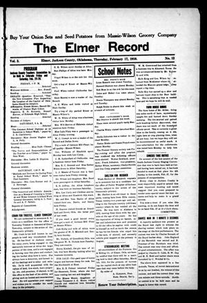 Primary view of object titled 'The Elmer Record (Elmer, Okla.), Vol. 3, No. 12, Ed. 1 Thursday, February 17, 1910'.