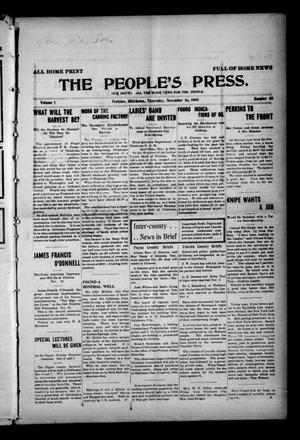 Primary view of object titled 'The People's Press. (Perkins, Okla.), Vol. 1, No. 40, Ed. 1 Thursday, November 16, 1905'.