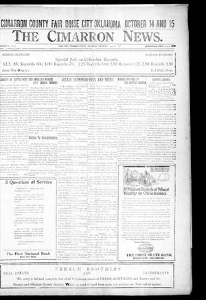 Primary view of object titled 'The Cimarron News. (Boise City, Okla.), Vol. 24, No. 7, Ed. 1 Thursday, September 15, 1921'.