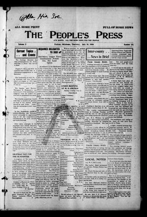 Primary view of object titled 'The People's Press (Perkins, Okla.), Vol. 2, No. 23, Ed. 1 Thursday, July 19, 1906'.
