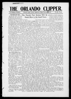 Primary view of object titled 'The Orlando Clipper. (Orlando, Okla.), Vol. 3, No. 11, Ed. 1 Friday, February 5, 1909'.