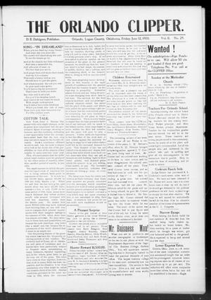 Primary view of object titled 'The Orlando Clipper. (Orlando, Okla.), Vol. 1, Ed. 1 Friday, June 12, 1908'.