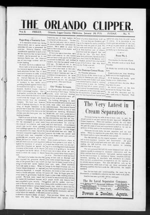 Primary view of object titled 'The Orlando Clipper. (Orlando, Okla.), Vol. 2, No. 9, Ed. 1 Friday, January 24, 1908'.