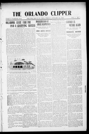 Primary view of object titled 'The Orlando Clipper (Orlando, Okla.), Vol. 5, No. 7, Ed. 1 Friday, January 13, 1911'.