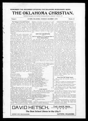 Primary view of object titled 'The Oklahoma Christian. (Guthrie, Okla.), Vol. 3, No. 27, Ed. 1 Thursday, December 1, 1898'.