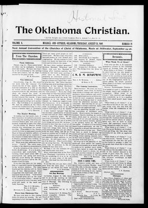 Primary view of object titled 'The Oklahoma Christian. (Mulhall and Guthrie, Okla.), Vol. 6, No. 11, Ed. 1 Thursday, August 15, 1901'.