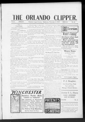 Primary view of object titled 'The Orlando Clipper. (Orlando, Okla.), Vol. 1, No. 51, Ed. 1 Friday, November 8, 1907'.