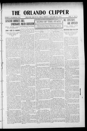 Primary view of object titled 'The Orlando Clipper (Orlando, Okla.), Vol. 5, No. 8, Ed. 1 Friday, January 20, 1911'.
