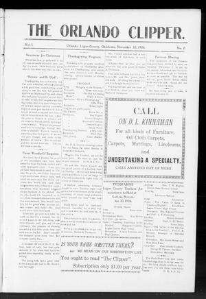 Primary view of object titled 'The Orlando Clipper. (Orlando, Okla.), Vol. 1, No. 2, Ed. 1 Friday, November 30, 1906'.