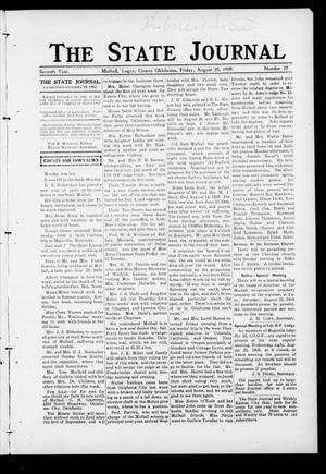 Primary view of object titled 'The State Journal (Mulhall, Okla.), Vol. 7, No. 37, Ed. 1 Friday, August 20, 1909'.