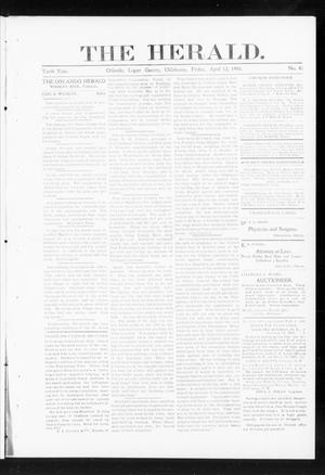 Primary view of object titled 'The Herald. (Orlando, Okla.), Vol. 10, No. 45, Ed. 1 Friday, April 12, 1901'.