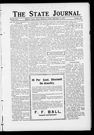 Primary view of object titled 'The State Journal (Mulhall, Okla.), Vol. 7, No. 50, Ed. 1 Friday, November 19, 1909'.