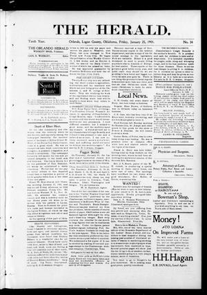 Primary view of object titled 'The Herald. (Orlando, Okla.), Vol. 10, No. 34, Ed. 1 Friday, January 25, 1901'.