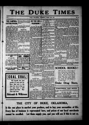 Primary view of object titled 'The Duke Times (Duke, Okla.), Vol. 4, No. 20, Ed. 1 Thursday, October 19, 1911'.