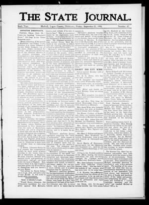 Primary view of object titled 'The State Journal. (Mulhall, Okla.), Vol. 6, No. 42, Ed. 1 Friday, September 25, 1908'.