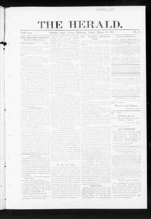 Primary view of object titled 'The Herald. (Orlando, Okla.), Vol. 10, No. 43, Ed. 1 Friday, March 29, 1901'.