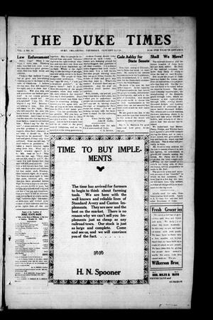 Primary view of object titled 'The Duke Times (Duke, Okla.), Vol. 2, No. 43, Ed. 1 Thursday, January 13, 1910'.