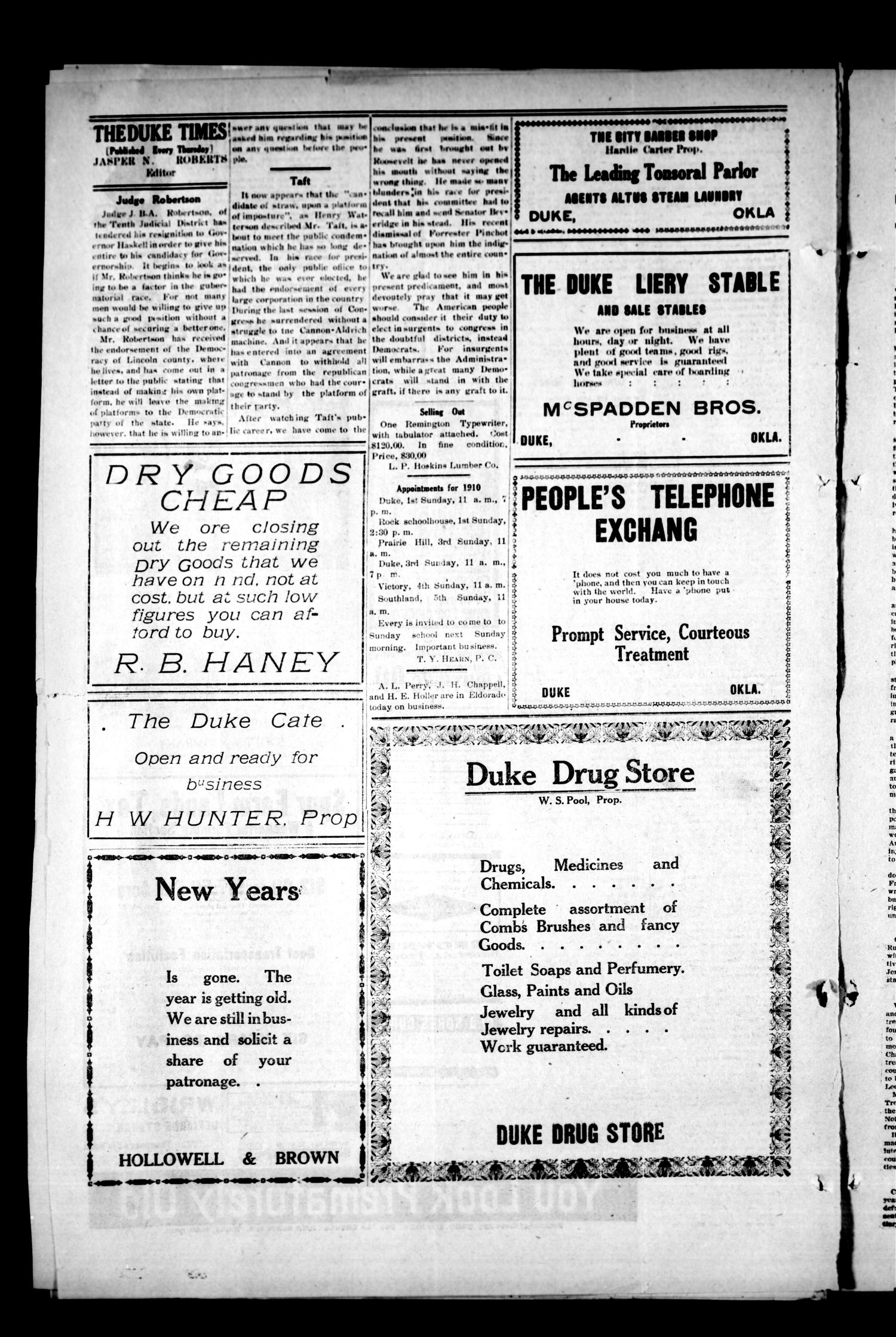 The Duke Times (Duke, Okla.), Vol. 2, No. 43, Ed. 1 Thursday, January 13, 1910                                                                                                      [Sequence #]: 4 of 6