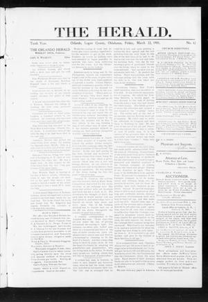 Primary view of object titled 'The Herald. (Orlando, Okla.), Vol. 10, No. 42, Ed. 1 Friday, March 22, 1901'.