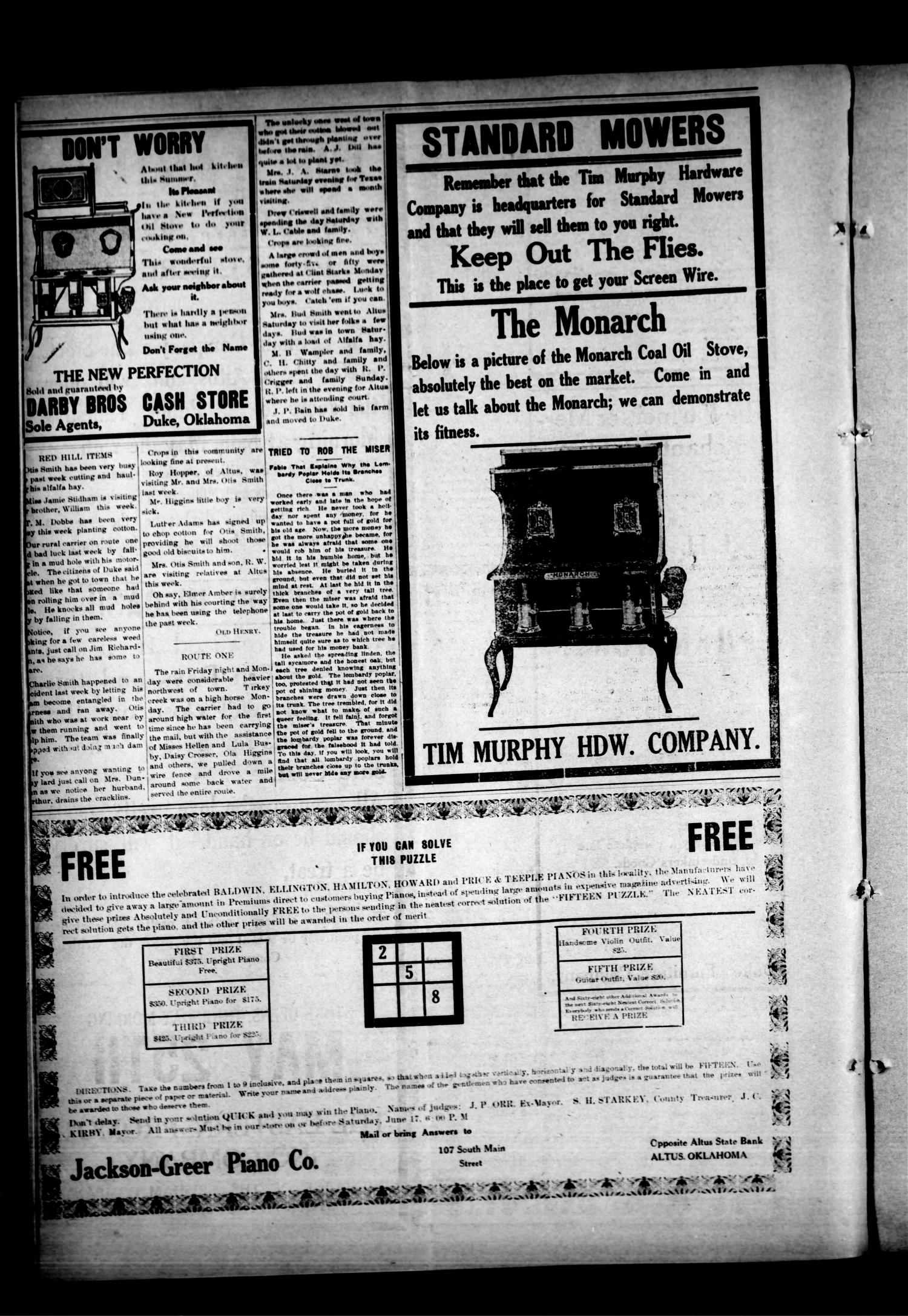The Duke Times (Duke, Okla.), Vol. 3, No. 52, Ed. 1 Thursday, June 1, 1911                                                                                                      [Sequence #]: 4 of 4
