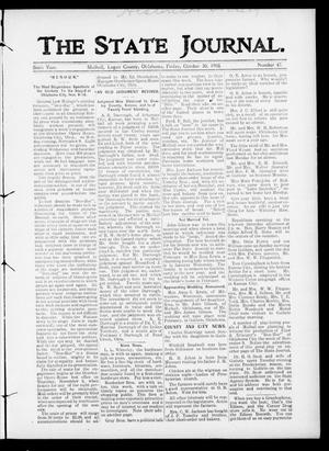 Primary view of object titled 'The State Journal. (Mulhall, Okla.), Vol. 6, No. 47, Ed. 1 Friday, October 30, 1908'.