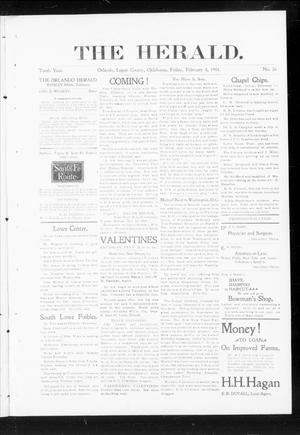 Primary view of object titled 'The Herald. (Orlando, Okla.), Vol. 10, No. 36, Ed. 1 Friday, February 8, 1901'.