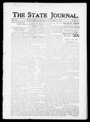 Primary view of object titled 'The State Journal. (Mulhall, Okla.), Vol. 6, No. 13, Ed. 1 Friday, March 6, 1908'.