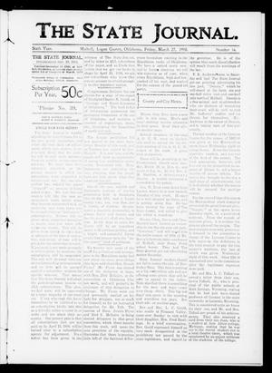 Primary view of object titled 'The State Journal. (Mulhall, Okla.), Vol. 6, No. 16, Ed. 1 Friday, March 27, 1908'.