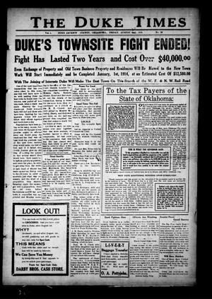 Primary view of object titled 'The Duke Times (Duke, Okla.), Vol. 5, No. 10, Ed. 1 Friday, August 30, 1912'.