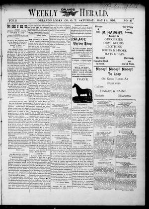 Primary view of object titled 'Weekly Orlando Herald. (Orlando, Okla. Terr.), Vol. 3, No. 47, Ed. 1 Saturday, May 11, 1895'.