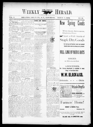 Primary view of object titled 'Weekly Orlando Herald. (Orlando, Okla. Terr.), Vol. 2, No. 39, Ed. 1 Saturday, March 17, 1894'.