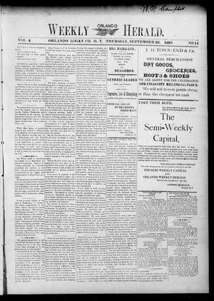 Primary view of object titled 'Weekly Orlando Herald. (Orlando, Okla. Terr.), Vol. 4, No. 14, Ed. 1 Thursday, September 26, 1895'.