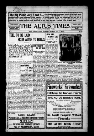Primary view of object titled 'The Altus Times. (Altus, Okla.), Vol. 7, No. 25, Ed. 1 Thursday, July 1, 1909'.