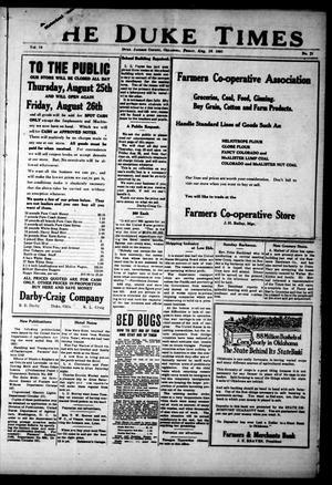 Primary view of The Duke Times (Duke, Okla.), Vol. 12, No. 21, Ed. 1 Friday, August 19, 1921