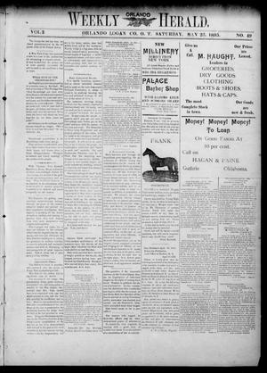 Primary view of object titled 'Weekly Orlando Herald. (Orlando, Okla. Terr.), Vol. 3, No. 49, Ed. 1 Saturday, May 25, 1895'.
