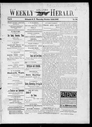 Primary view of object titled 'Weekly Orlando Herald. (Orlando, Okla. Terr.), Vol. 6, No. 18, Ed. 1 Thursday, October 14, 1897'.