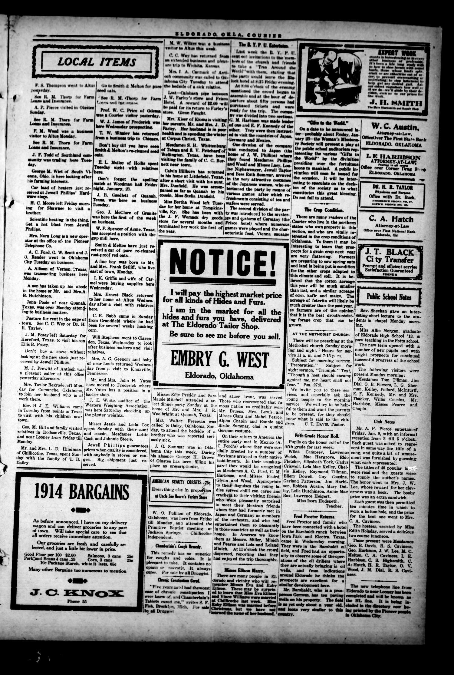 The Eldorado Courier (Eldorado, Okla ), Vol  12, No  27, Ed