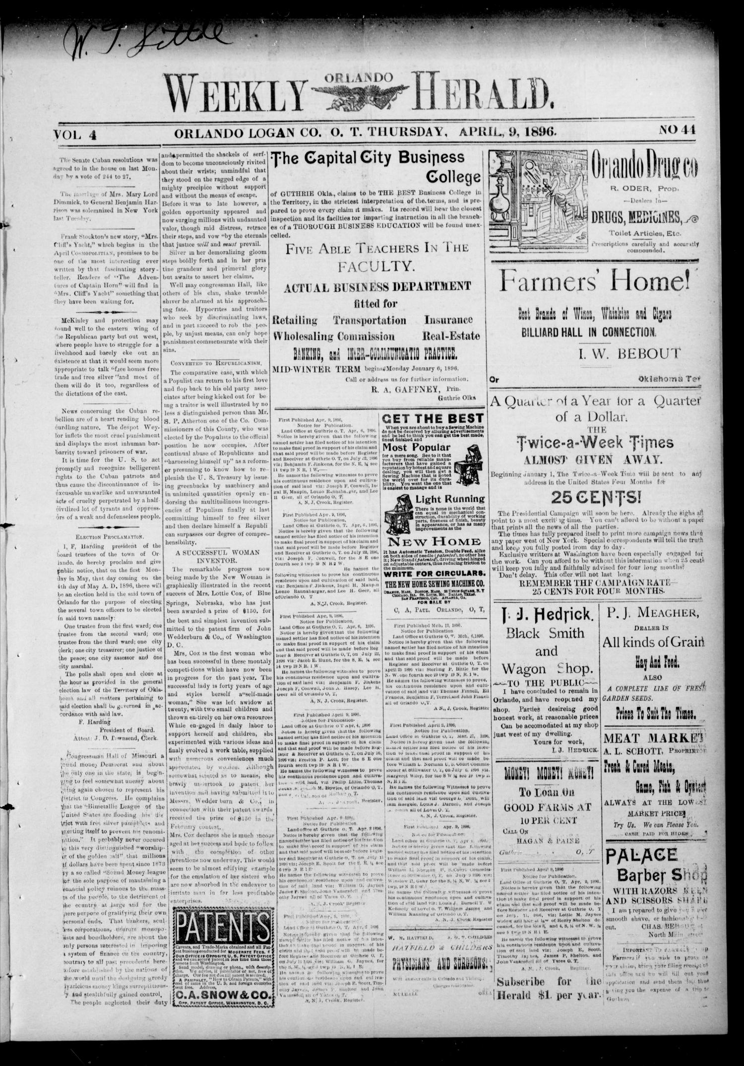 Weekly Orlando Herald. (Orlando, Okla. Terr.), Vol. 4, No. 44, Ed. 1 Thursday, April 9, 1896                                                                                                      [Sequence #]: 1 of 4