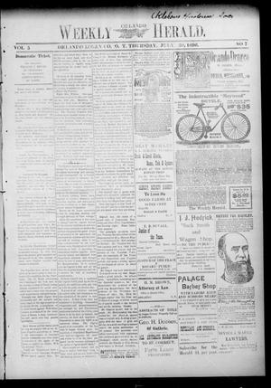 Primary view of object titled 'Weekly Orlando Herald. (Orlando, Okla. Terr.), Vol. 5, No. 7, Ed. 1 Thursday, July 30, 1896'.