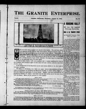 Primary view of object titled 'The Granite Enterprise. (Granite, Okla.), Vol. 3, No. 16, Ed. 1 Thursday, August 14, 1902'.