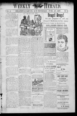 Primary view of object titled 'Weekly Orlando Herald. (Orlando, Okla. Terr.), Vol. 6, No. 1, Ed. 1 Thursday, June 17, 1897'.
