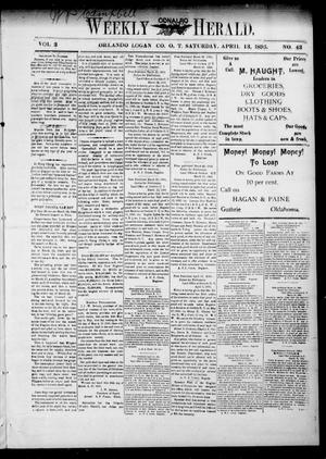 Primary view of object titled 'Weekly Orlando Herald. (Orlando, Okla. Terr.), Vol. 3, No. 43, Ed. 1 Saturday, April 13, 1895'.