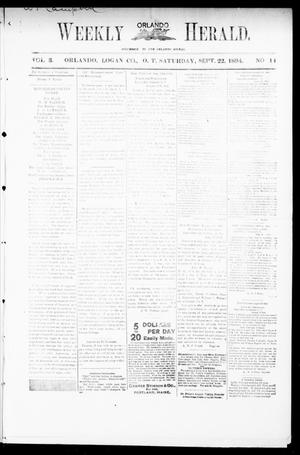 Primary view of object titled 'Weekly Orlando Herald. (Orlando, Okla. Terr.), Vol. 3, No. 14, Ed. 1 Saturday, September 22, 1894'.