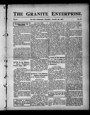 Primary view of object titled 'The Granite Enterprise. (Granite, Okla.), Vol. 3, No. 27, Ed. 1 Thursday, October 30, 1902'.