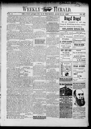 Primary view of object titled 'Weekly Orlando Herald. (Orlando, Okla. Terr.), Vol. 5, No. 39, Ed. 1 Thursday, March 11, 1897'.