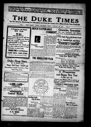 Primary view of object titled 'The Duke Times (Duke, Okla.), Vol. 5, No. 31, Ed. 1 Friday, January 3, 1913'.